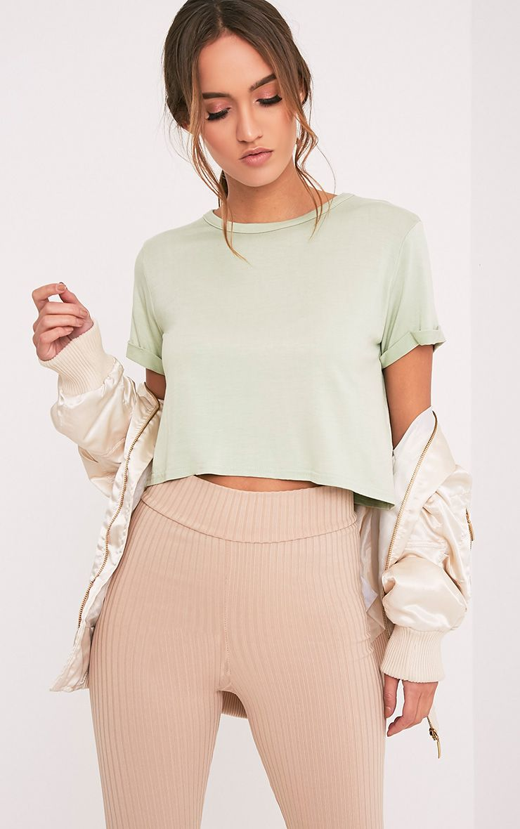 Kate Sage Green Roll Sleeve Crop T Shirt
