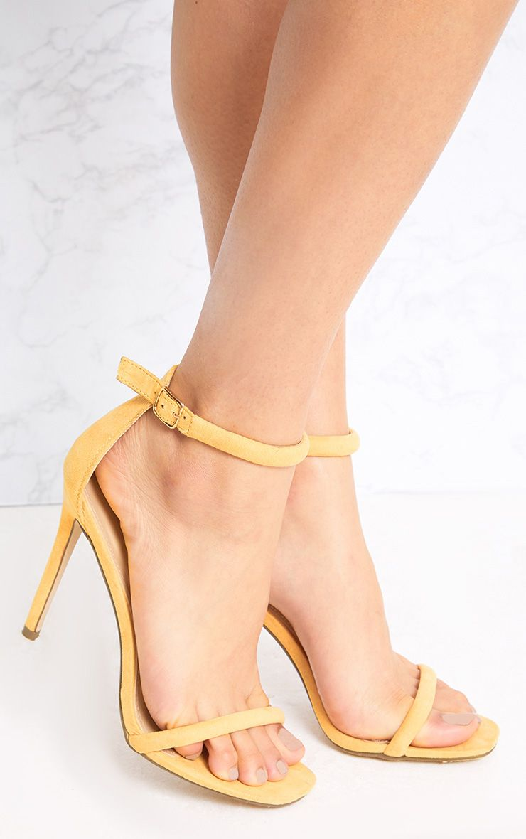 Ruby Yellow Square Toe Strappy Heels