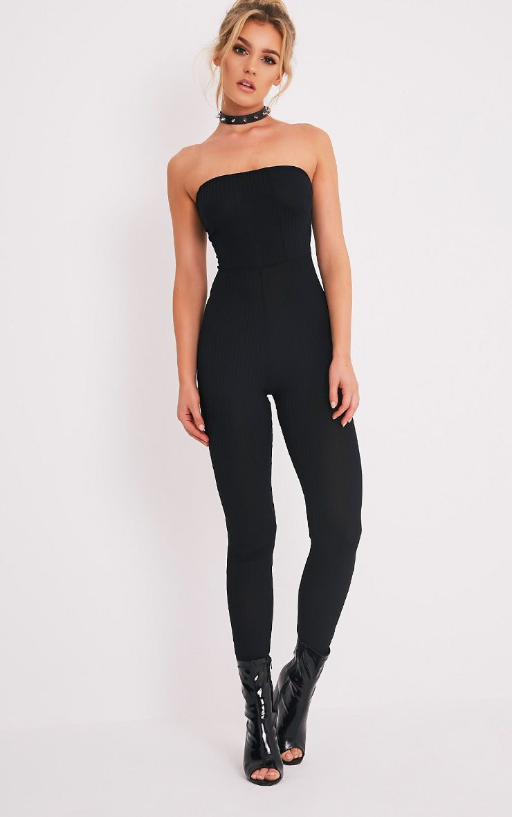 Amilie Black Ribbed Bandeau Jumpsuit