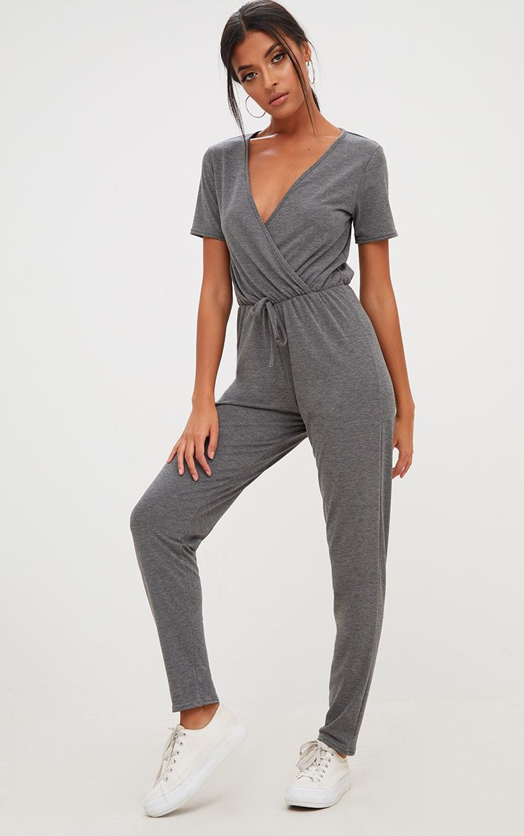 Charcoal Jersey Wrap Jumpsuit