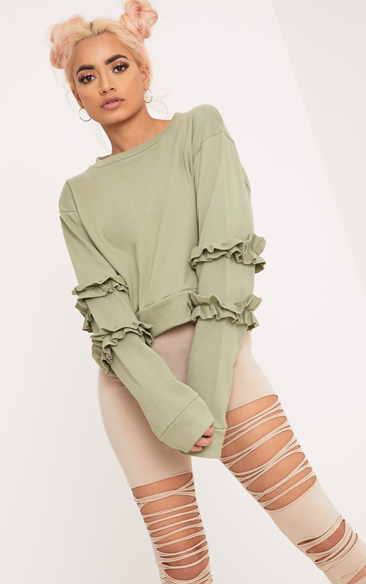 Venetia Sage Green Frill Detail Sleeve Sweater