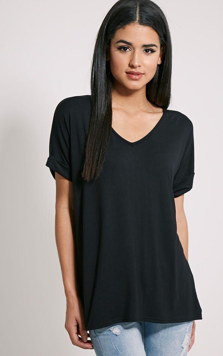 Basic Black V Neck Oversized T-Shirt