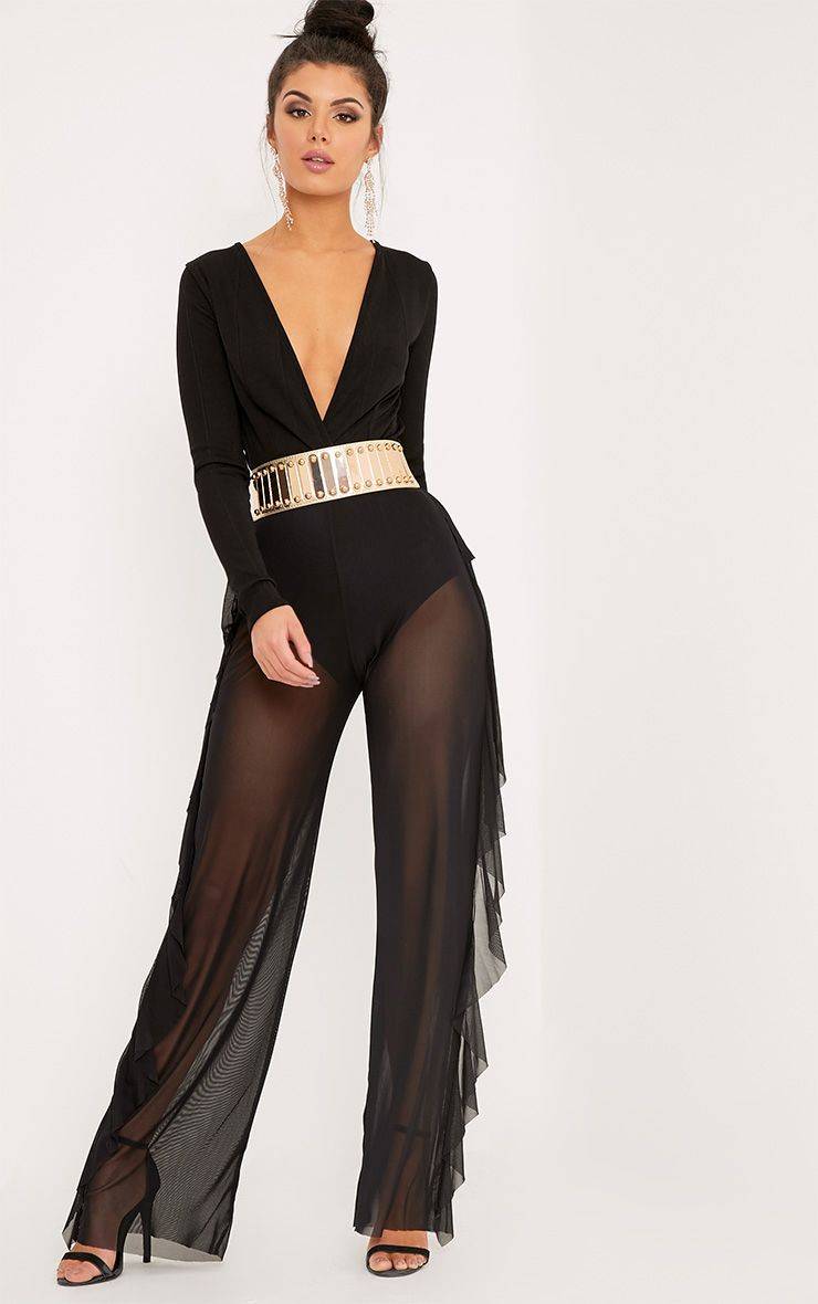 Nancia Black Sheer Side Frill Trousers