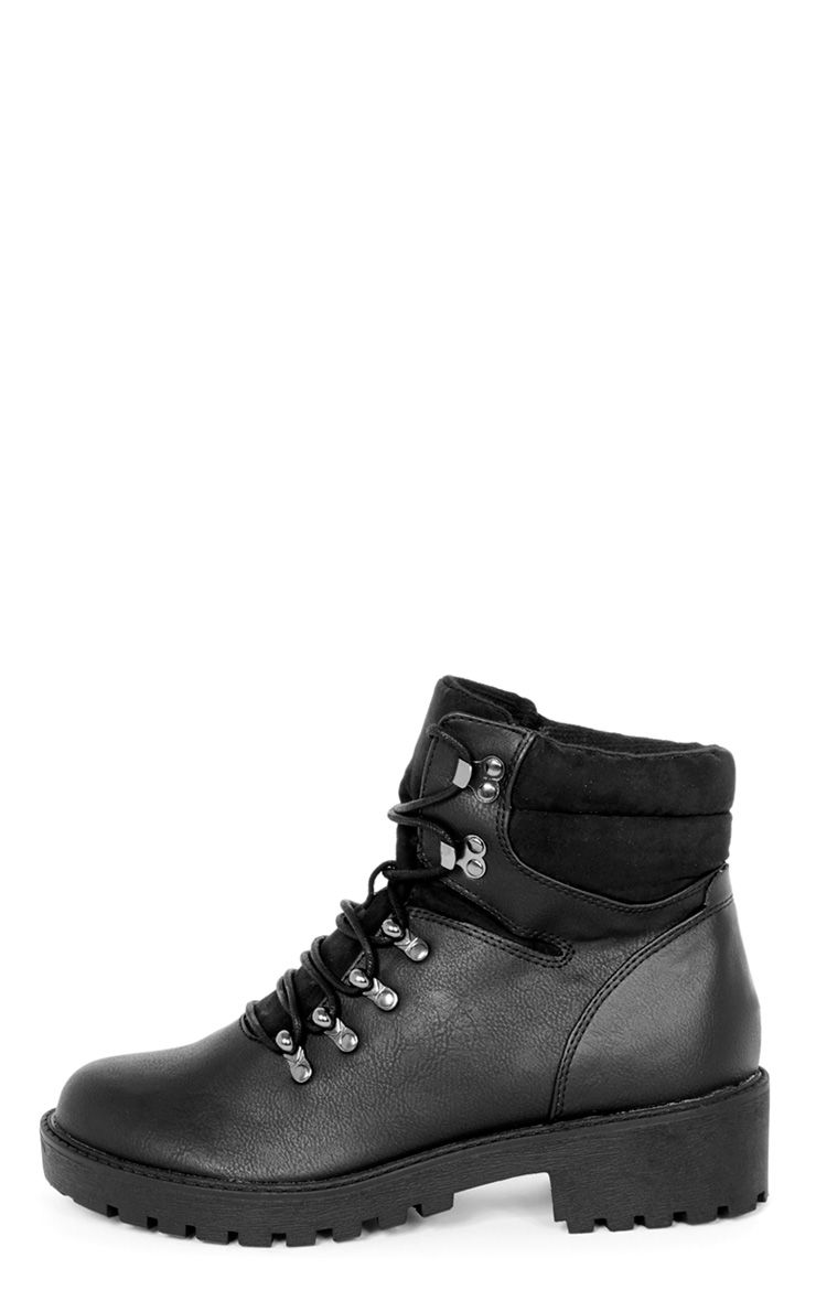 Product photo of Hannah black lace up hiker boot black