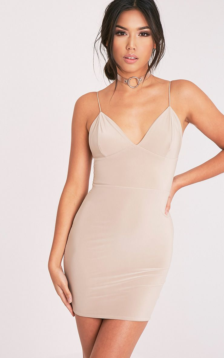 Ayishah Stone Slinky Strappy Plunge Bodycon Dress 1