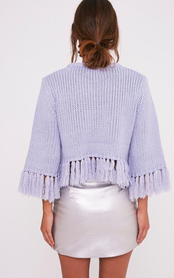Shelia pull tricoté court à franges bleu cendré 2