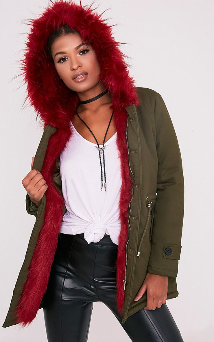 Jen Red Faux Fur Lined Parka