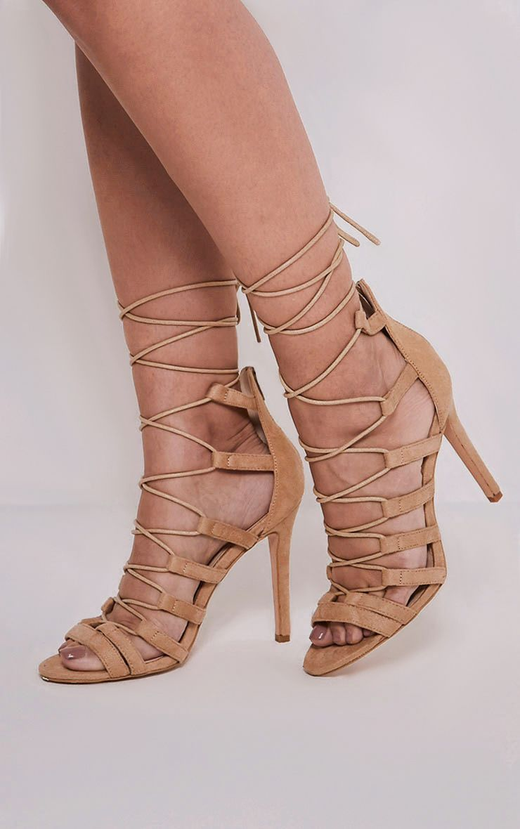 Rosah Nude Faux Suede Lace Up Heels 1