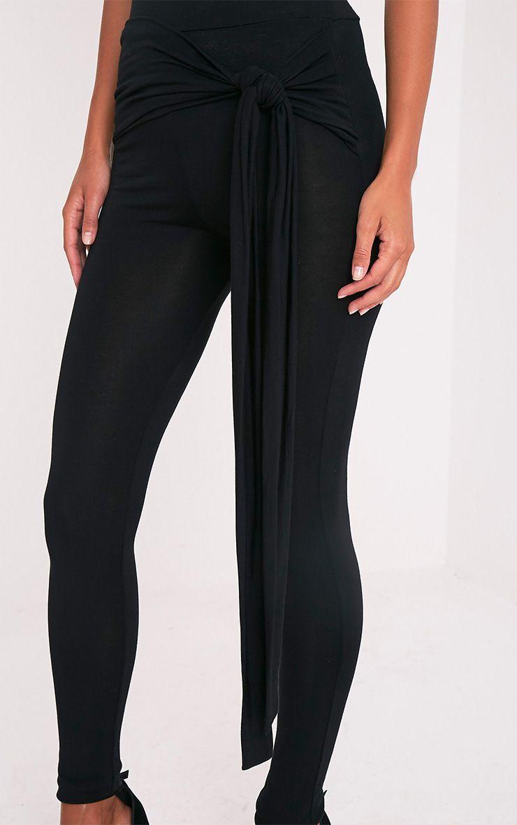 Basic Leggings classiques noirs avec nœud sur le devant 6