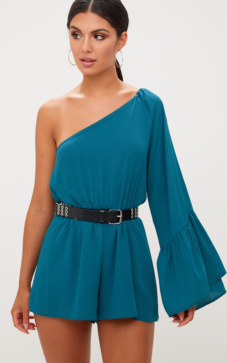 Teal One Shoulder Frill Sleeve Playsuit
