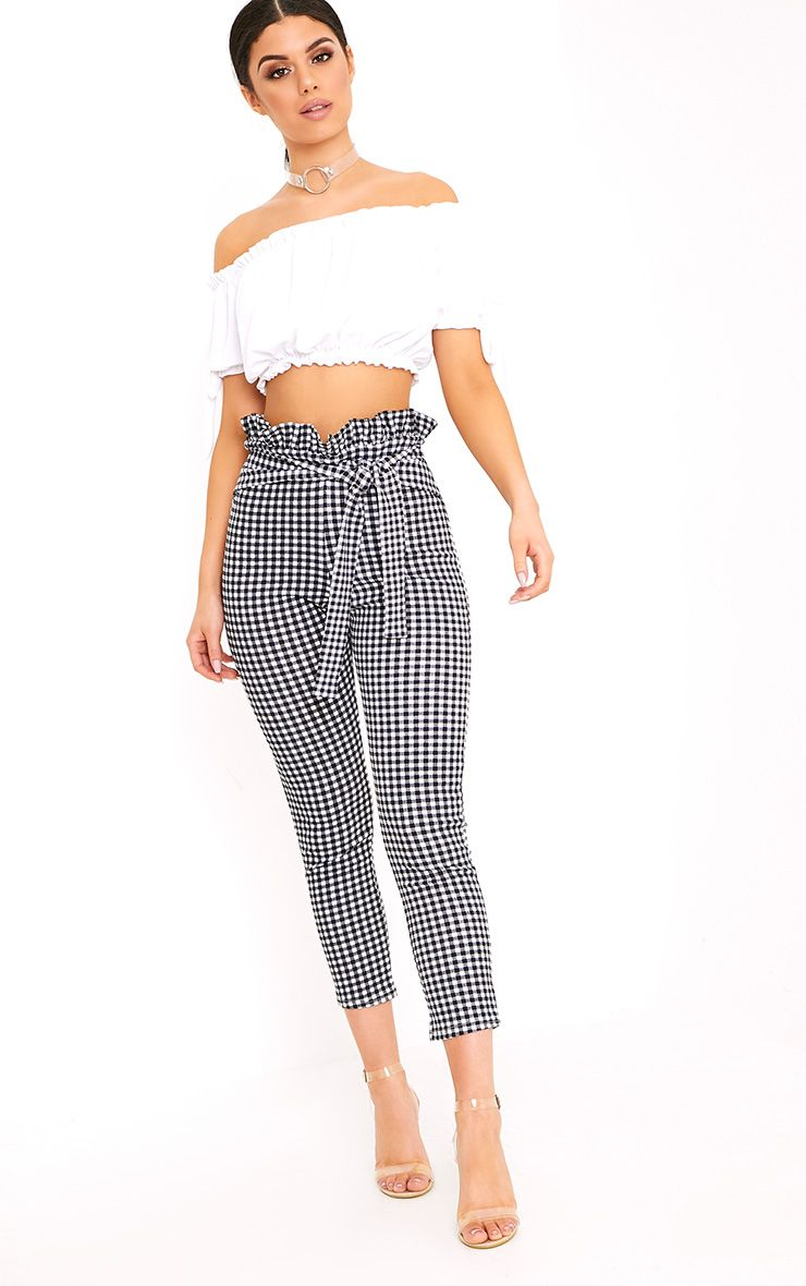 Perlita Black Gingham Paperbag Skinny Trousers