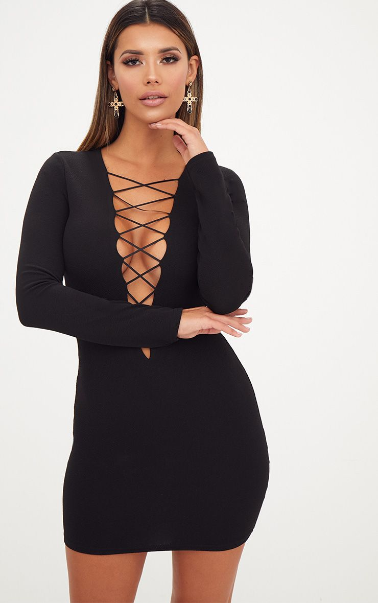 Black Extreme Plunge Lace Up Bodycon Dress 1