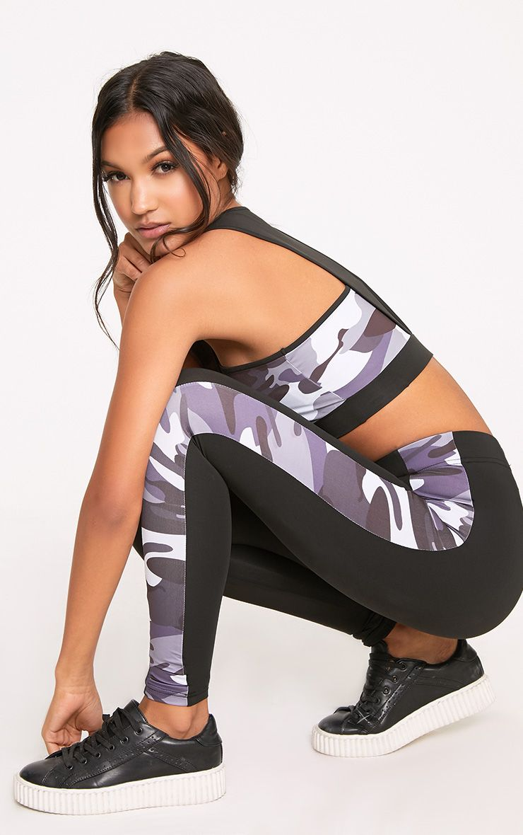 Saralee Black Camo Side Panel Leggings