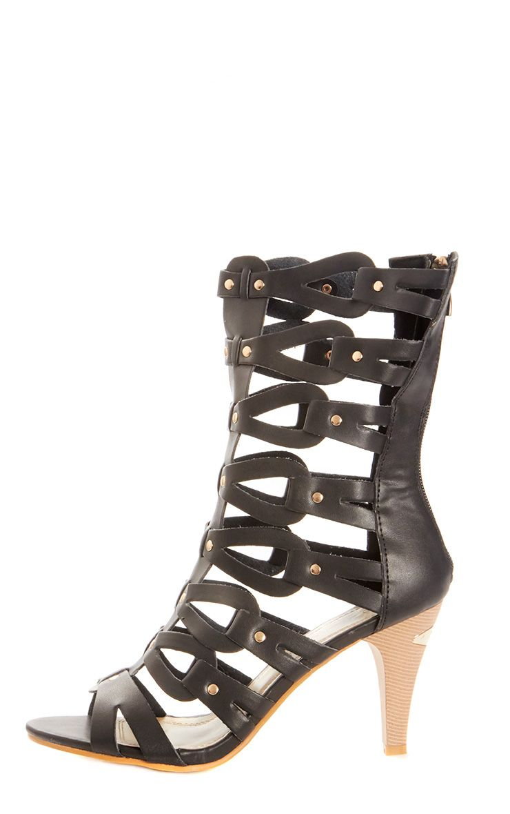 Kennedy Black Leather Gladiator Heeled Sandal  1