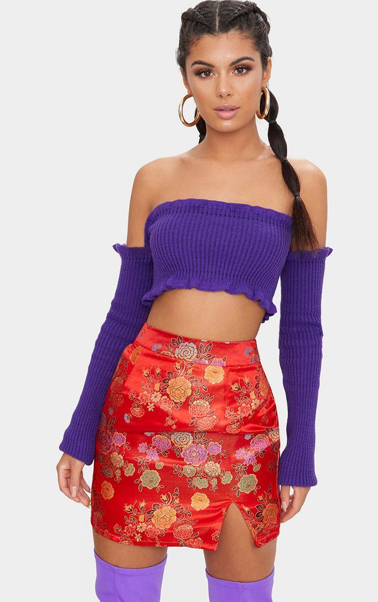 Violet Ruffle Detail Knit Bardot Long Sleeve Top