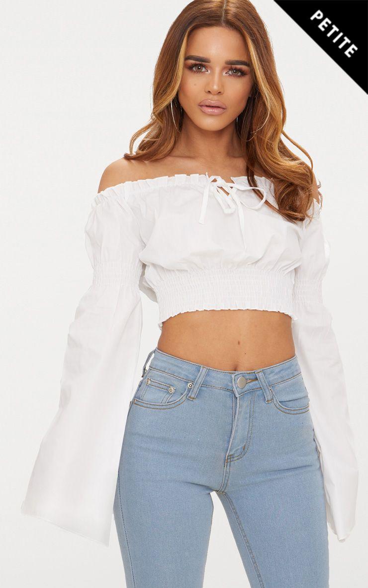 Petite White Flared Sleeve Bardot Crop Top