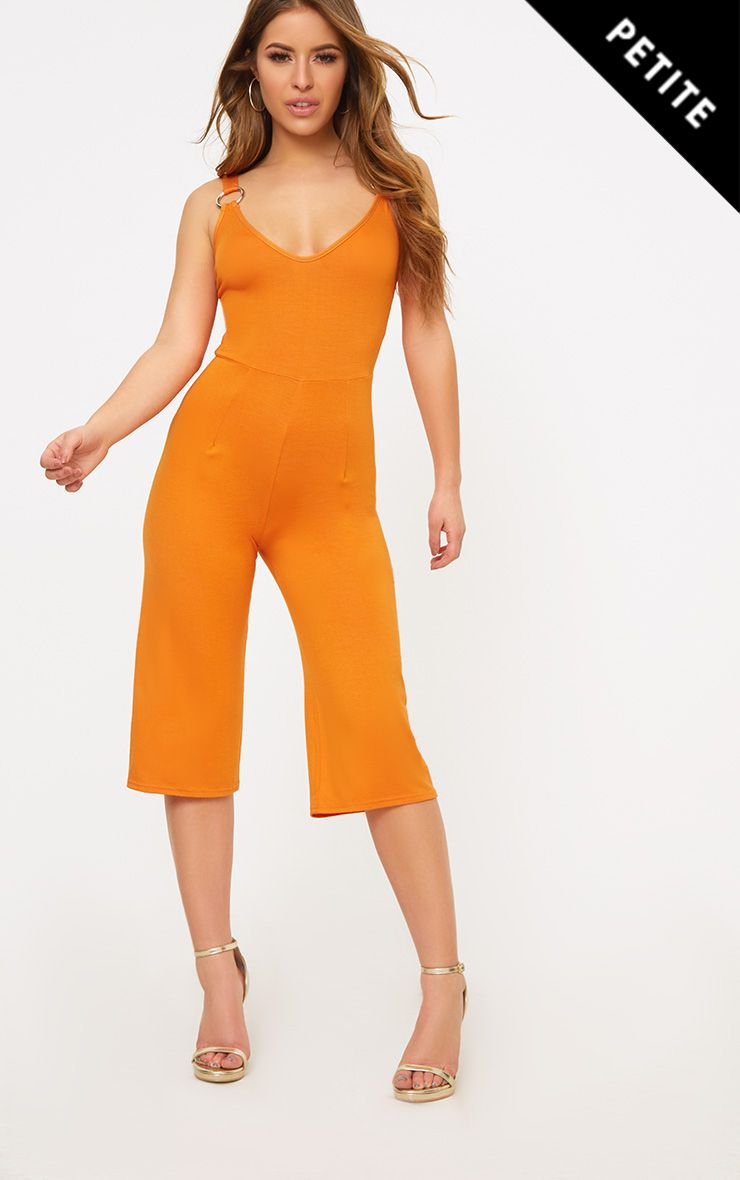 Petite Orange O-Ring Culotte Jumpsuit