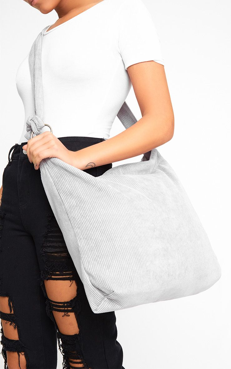 Grey Cord Oversized Shopper