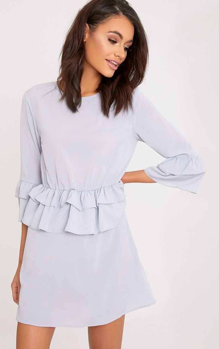 Demi Ice Grey Frill Detail Shift Dress