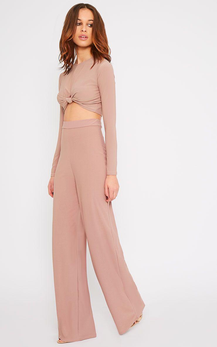 Zafia Dusty Pink Crepe Palazzo Trousers 1