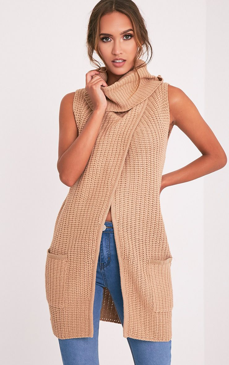 Merial Camel Sleeveless Cowl Neck Jumper 5