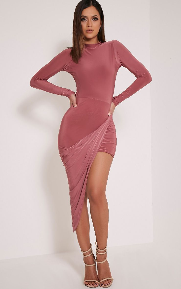 Saffy Rose Slinky Drape Asymmetric Dress 1