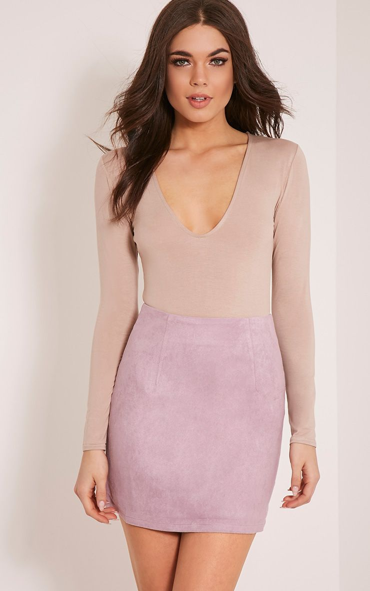 Lauree Lilac Faux Suede Mini Skirt