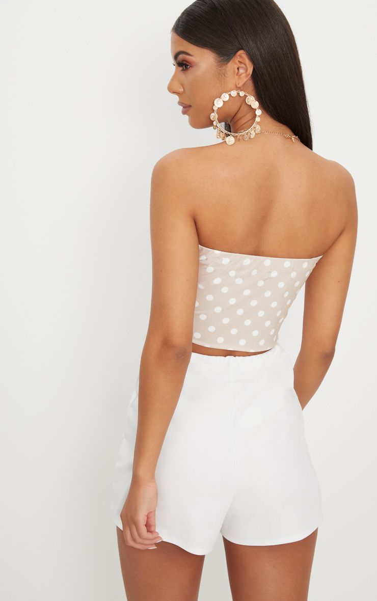 Nude Polka Dot Slinky Bandeau Crop Top Pretty Little Thing From China Cheap Price Best Seller 100% Guaranteed 8TDoF