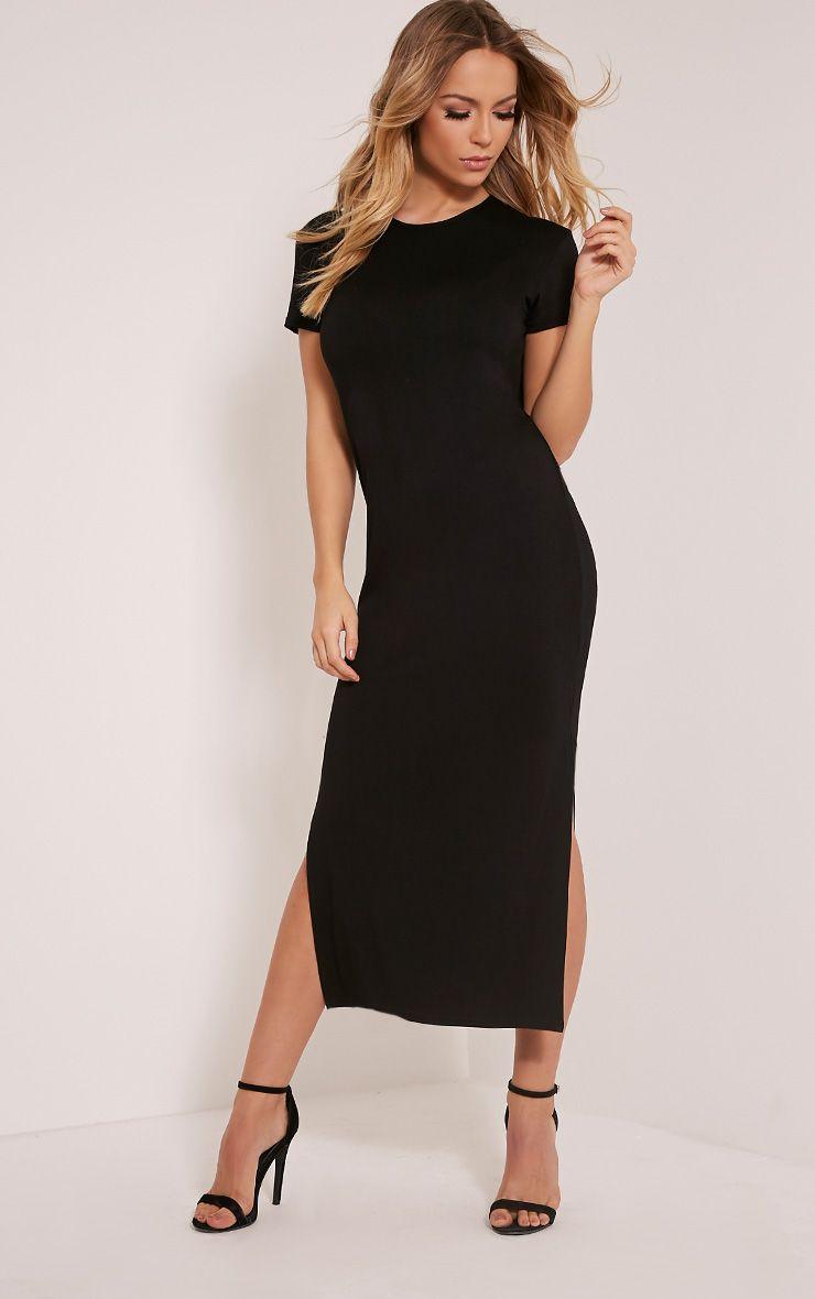 Basic Black Split Side T Shirt Dress 1