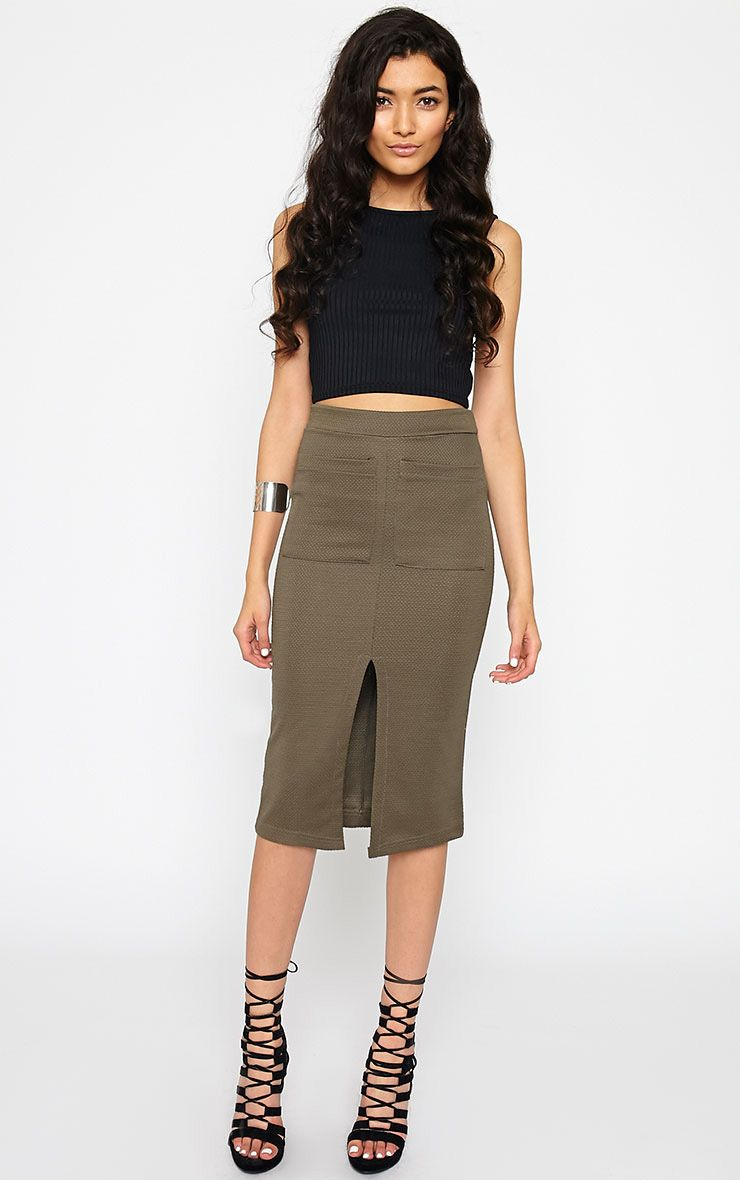 Nala Khaki Pencil Pocket Skirt 1