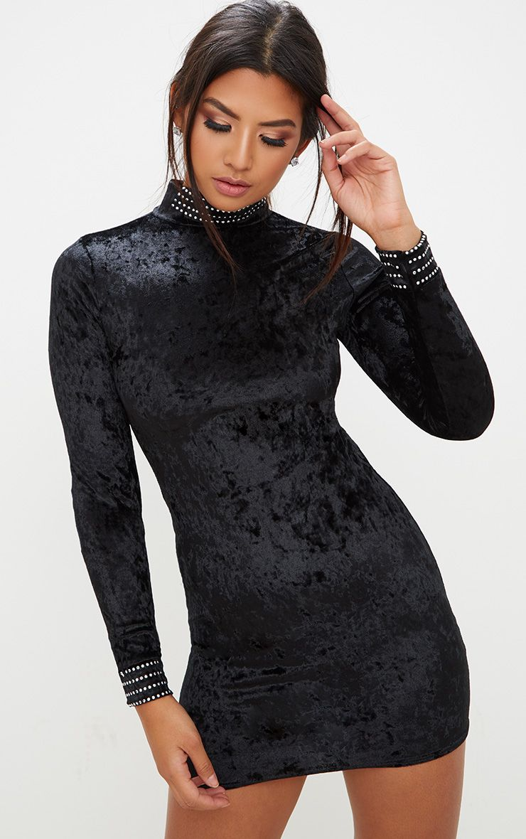 Black Velvet Stud Detail High Neck Long Sleeve Bodycon Dress