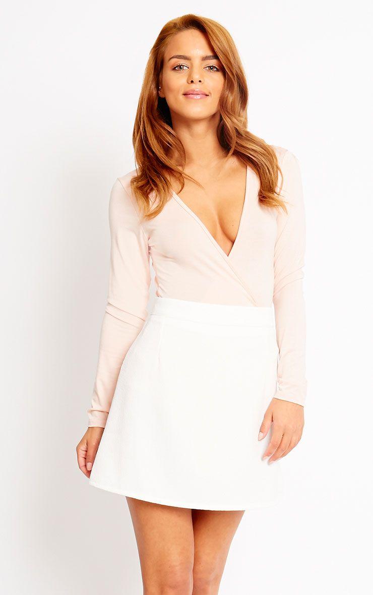 Rori Ivory Crepe A Line Mini Skirt 1