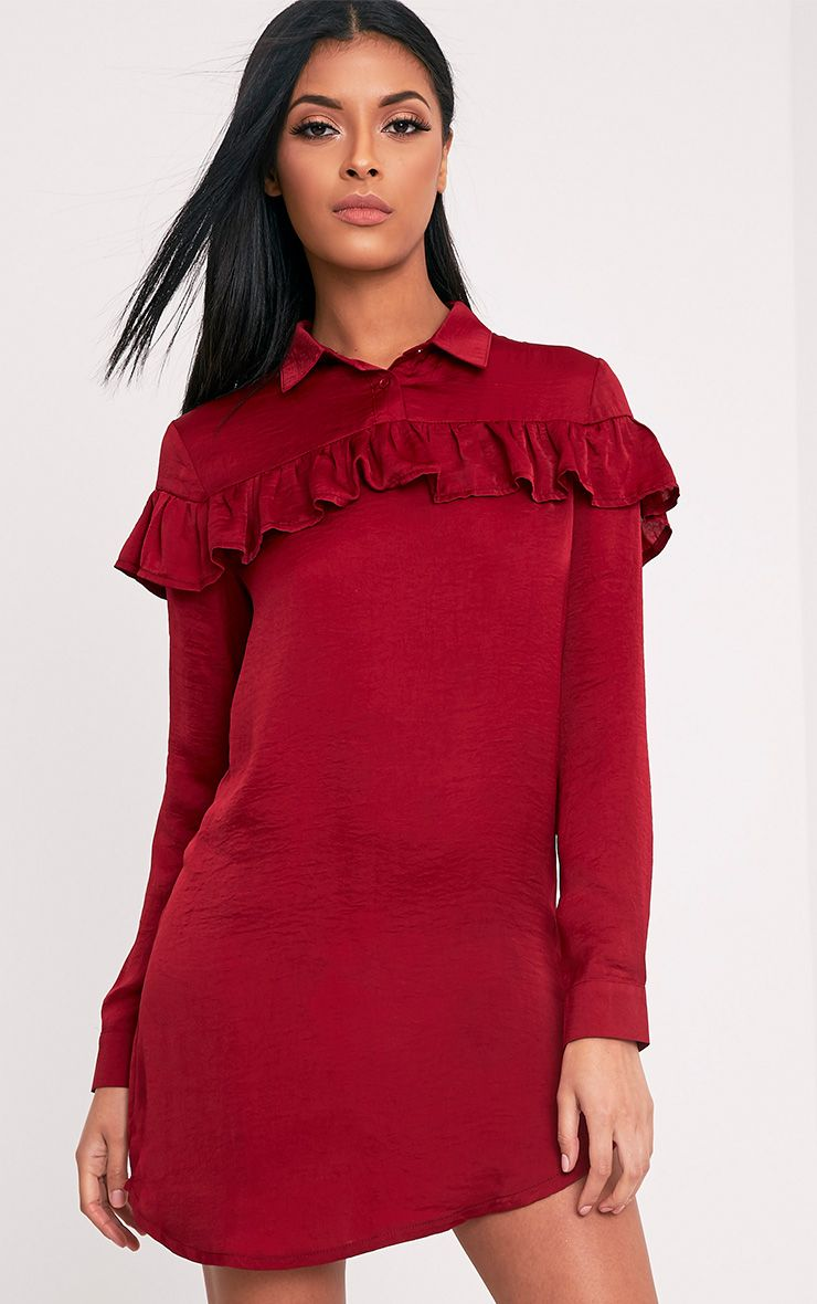 Kerinah Burgundy Satin Frill Shift Dress