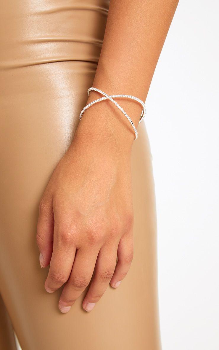 Silver Diamante Crossover Bracelet