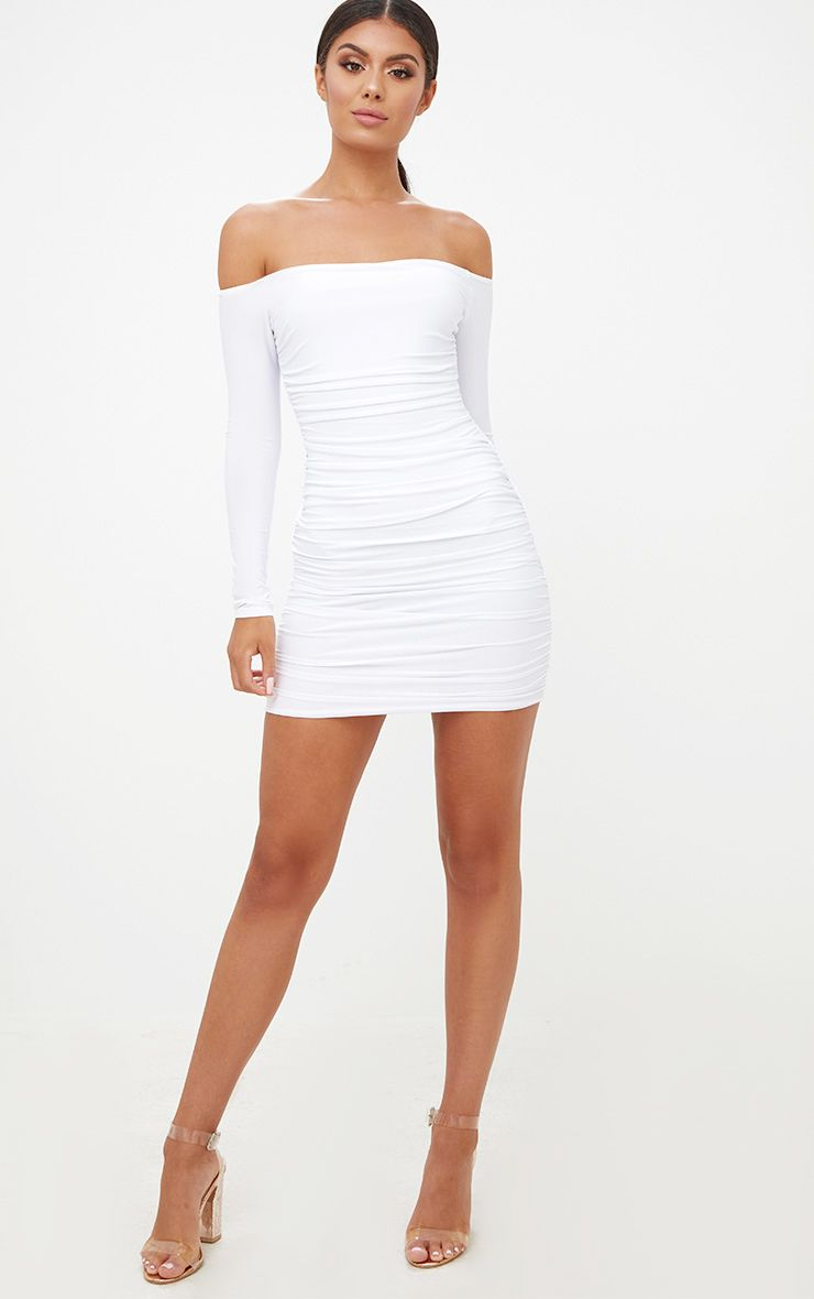 Dress ruched bodycon white bardot long sleeve images
