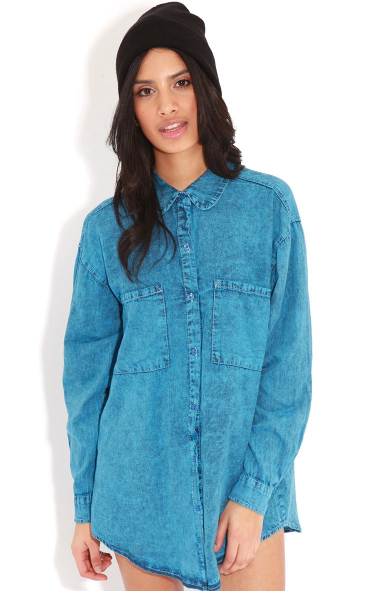 Tyra Blue Denim Oversized Shirt 1