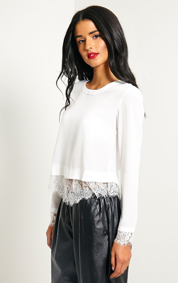 Katty White Lace Hem Wrap Back Top 1
