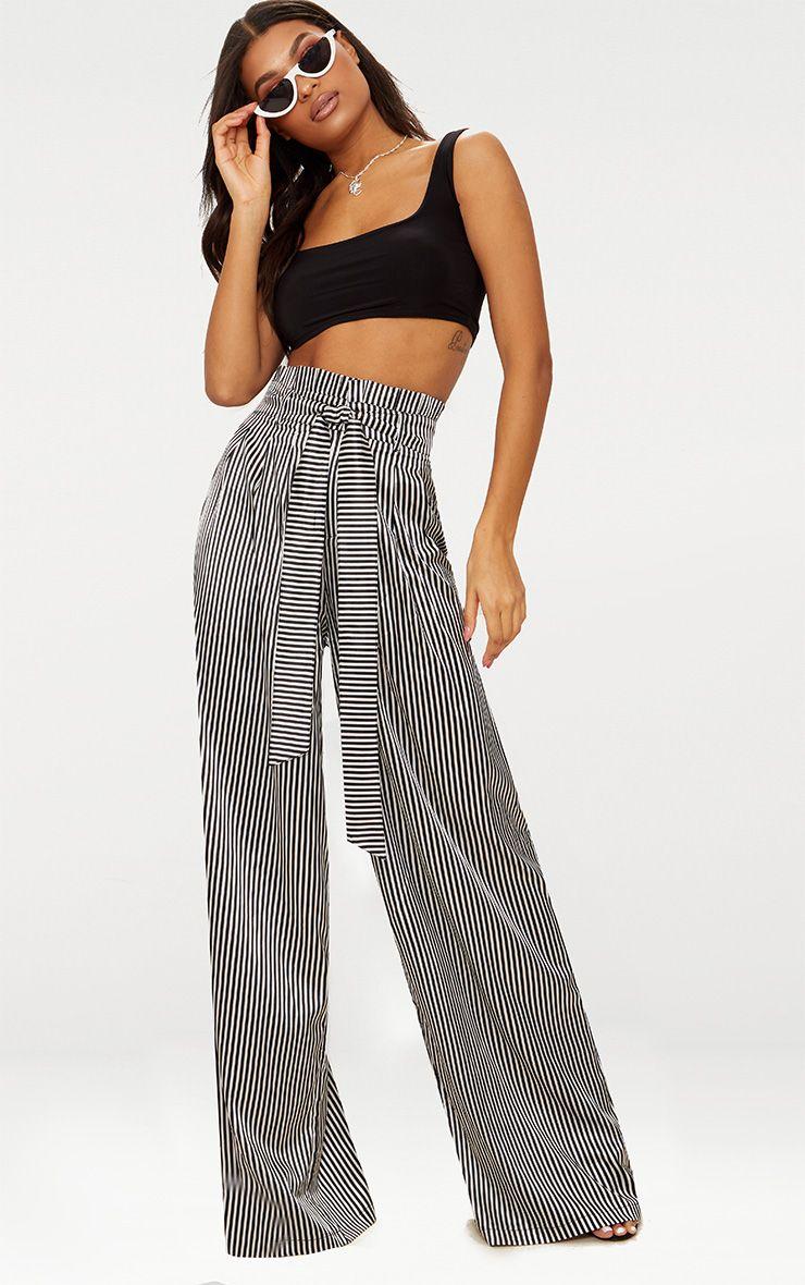Monochrome Satin Stripe Paperbag Wide Leg Trousers