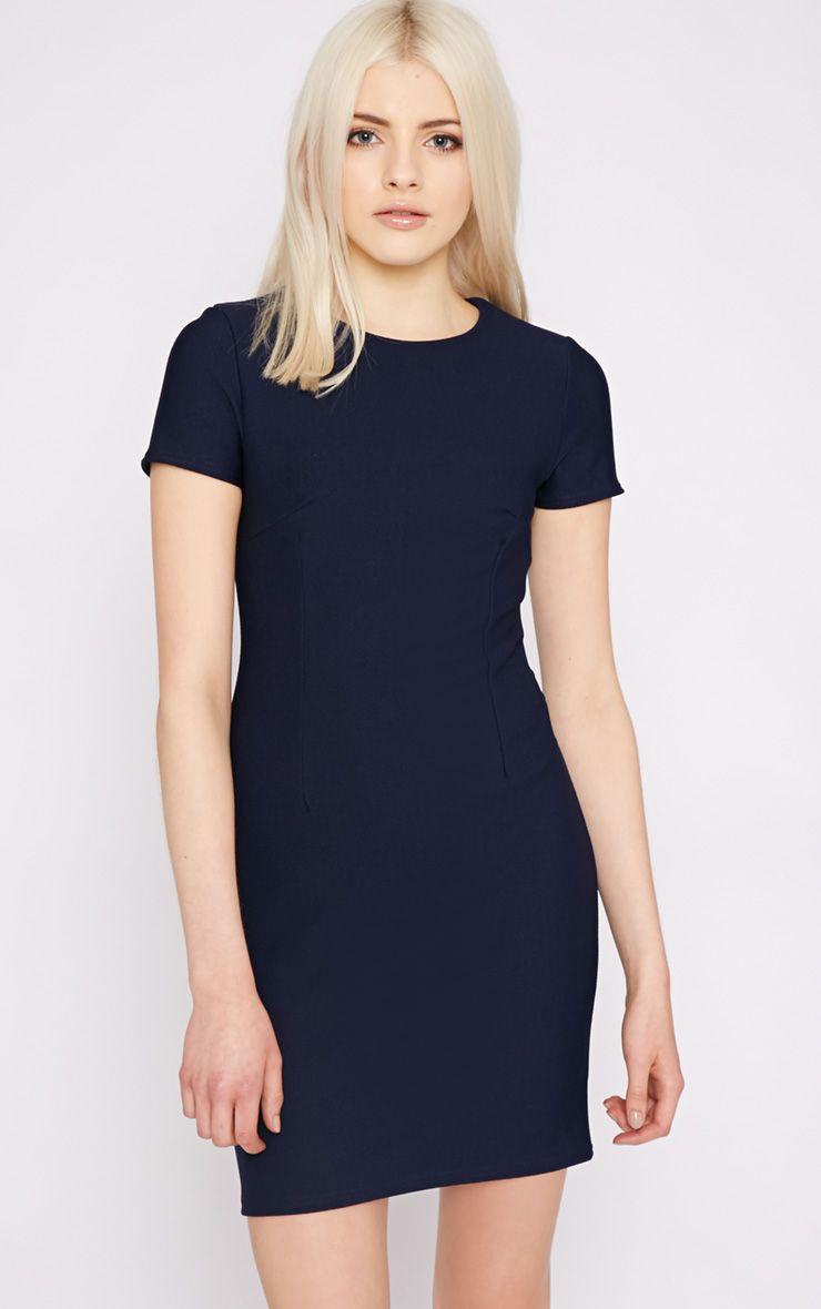 Lillie Navy Ribbed Bodycon Mini Dress 1