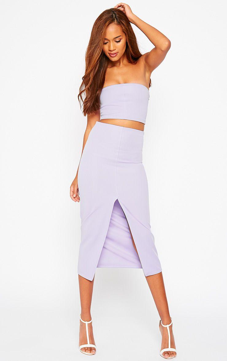 Kaja Lilac Scuba Split Skirt 1