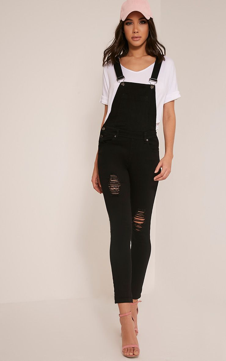Ann Black Denim Dungarees