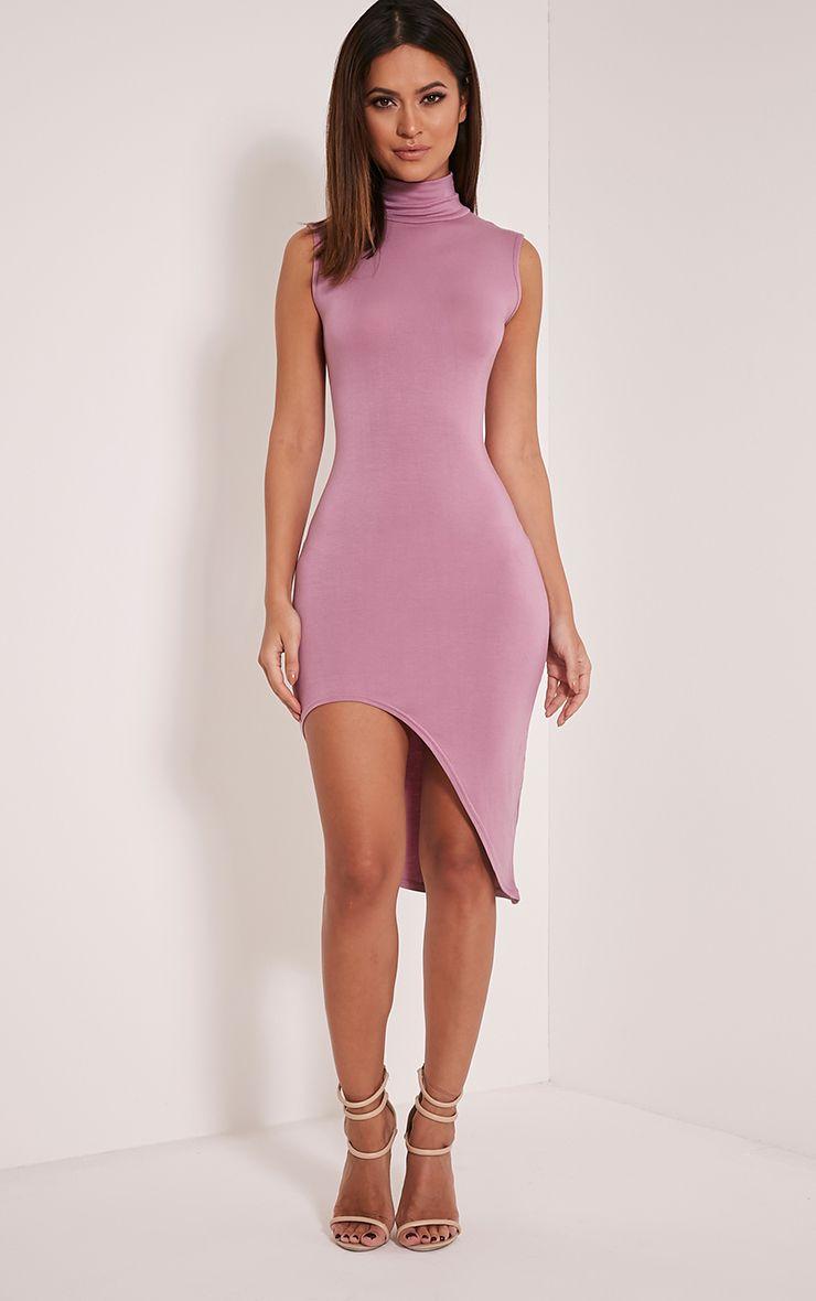 Pennie Mauve Curved Hem Sleeveless Midi Dress 1