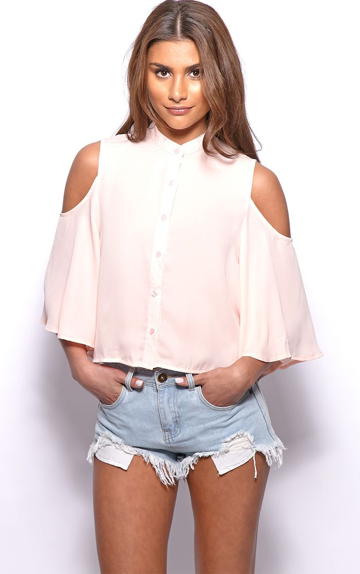 Laurie Peach Chiffon Cut Out Cropped Shirt 1