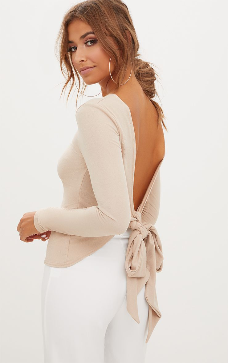 Stone Open Bow Back Longsleeve Top