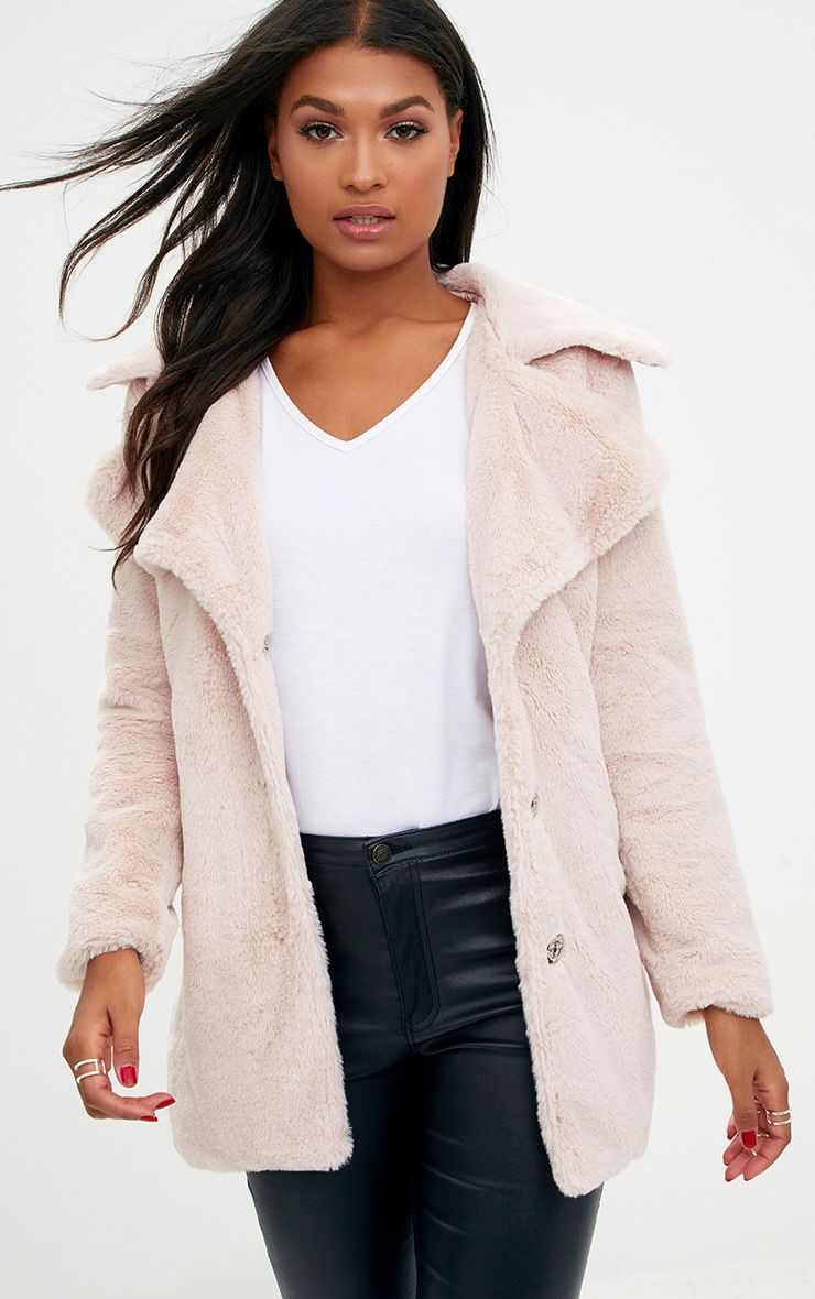 Pink Mid Length Faux Fur Coat