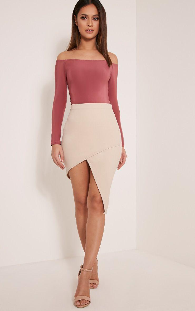Chloe Stone Asymmetric Wrap Midi Skirt 1
