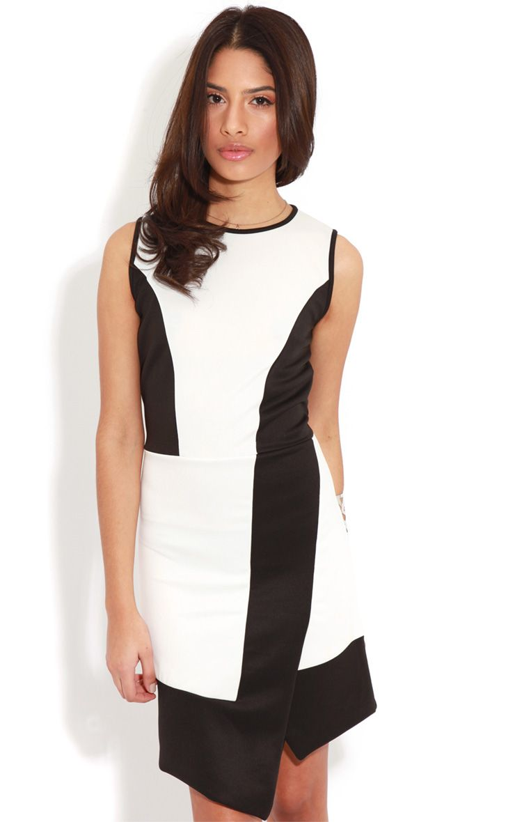Reanne Monochrome Panelled Wrapover Dress 1