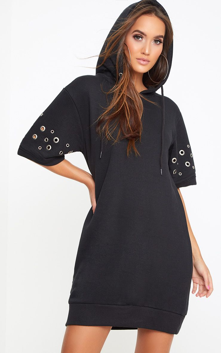 Black Loop Back Metal Ring Detail Sweater Dress