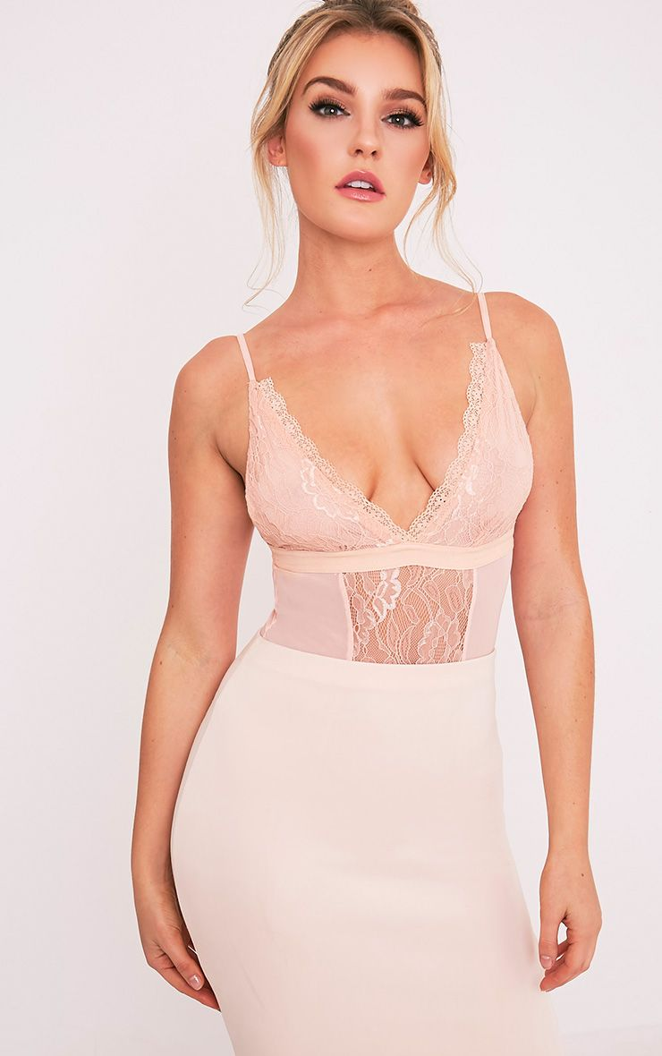 Sian Nude Lace Panel Bodysuit