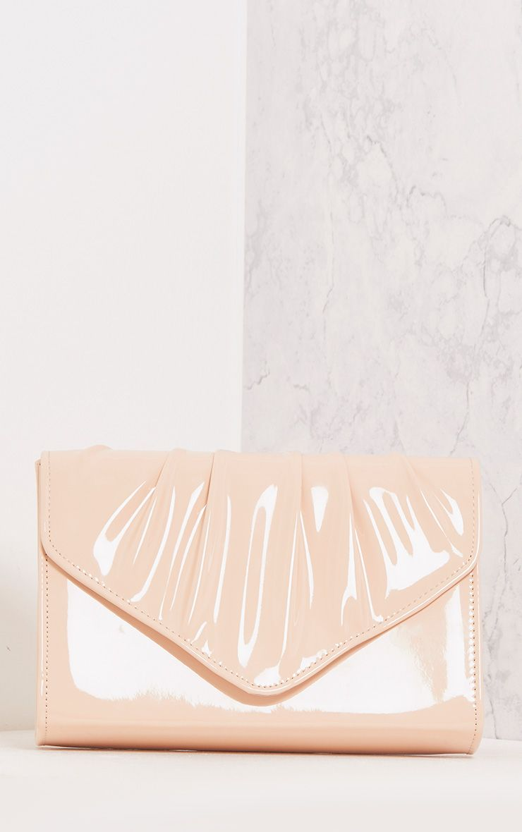 Ameria Baby Pink Patent Evelope Clutch